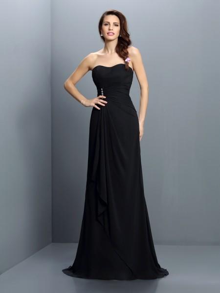 Trompeta/Sirena Sin Tirantes Plisado Sin Mangas Largo Gasa Vestidos de dama de honor