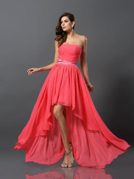 Corte en A/Princesa Escote de Corazón Sin Mangas Asimétrico Gasa Vestidos de dama de honor