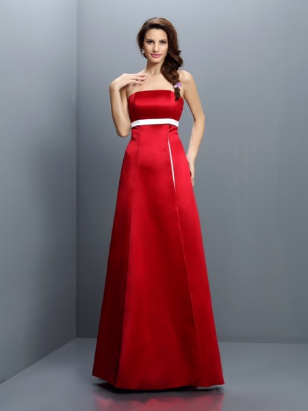 Corte en A/Princesa Sin Tirantes Fajas/Lazos/Cinturones Sin Mangas Largo Satén Vestidos de dama de honor