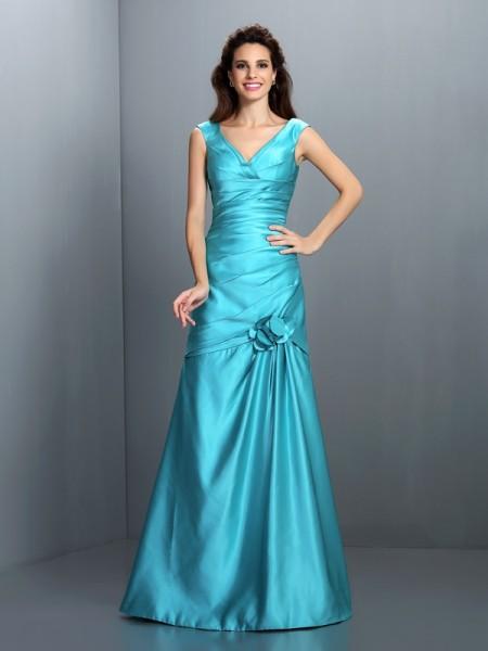 Corte en A/Princesa Escote en V Plisado Sin Mangas Largo Satén Vestidos de dama de honor
