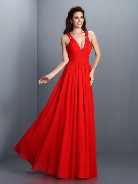 Corte en A/Princesa Escote en V Plisado Sin Mangas Largo Gasa Vestidos de dama de honor