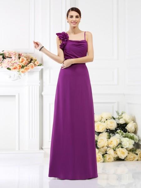 Ajustado/Tipo Columna Tirantes Espagueti Flores hechas a mano Sin Mangas Largo Gasa Vestidos de dama de honor