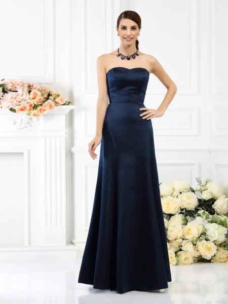 Ajustado/Tipo Columna Sin Tirantes Sin Mangas Largo Satén Vestidos de dama de honor