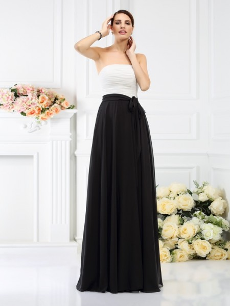 Corte en A/Princesa Sin Tirantes Fajas/Lazos/Cinturones Sin Mangas Largo Gasa Vestidos de dama de honor