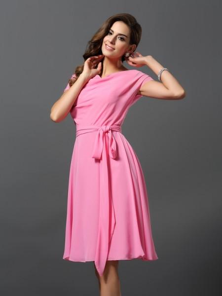 Corte en A/Princesa Escote en U Fajas/Lazos/Cinturones Manga Corta Corto Gasa Vestidos de dama de honor