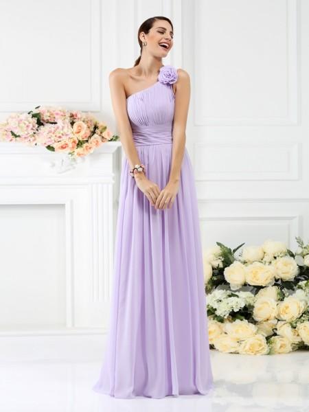 Corte en A/Princesa Un solo Hombro Plisado Flores hechas a mano Sin Mangas Largo Gasa Vestidos de dama de honor