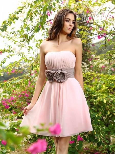 Corte en A/Princesa Escote de Corazón Plisado Fajas/Lazos/Cinturones Sin Mangas Corto Gasa Vestidos de dama de honor