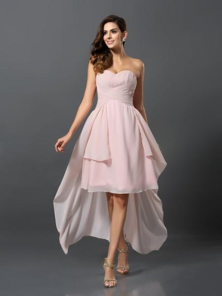 Corte en A/Princesa Escote de Corazón Plisado Sin Mangas Asimétrico Gasa Vestidos de dama de honor