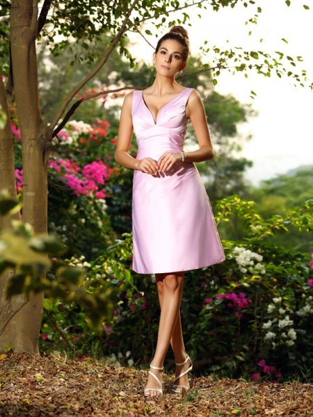 Corte en A/Princesa Escote en V Plisado Sin Mangas Corto Satén Vestidos de dama de honor