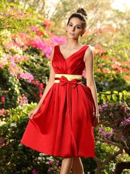 Corte en A/Princesa Escote en V Plisado Fajas/Lazos/Cinturones Sin Mangas Corto Satén Vestidos de dama de honor