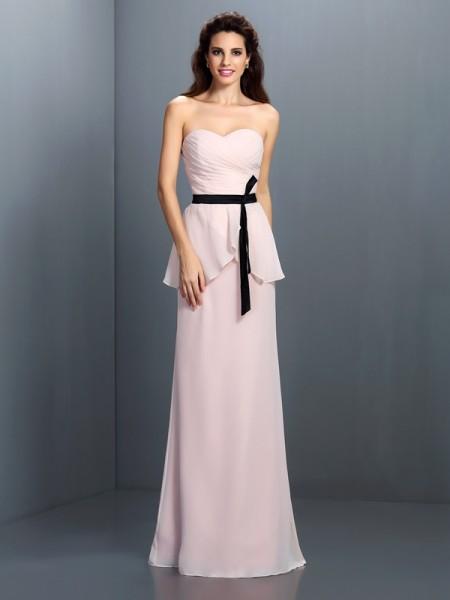 Ajustado/Tipo Columna Escote de Corazón Fajas/Lazos/Cinturones Sin Mangas Largo Gasa Vestidos de dama de honor