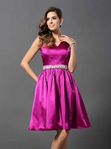 Corte en A/Princesa Tirantes Abalorios Sin Mangas Corto Satén Elástico Vestidos de dama de honor
