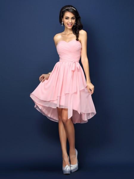 Corte en A/Princesa Escote de Corazón Plisado Lazos Sin Mangas Corto Gasa Vestidos de dama de honor