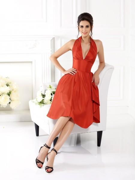 Corte en A/Princesa Escote Halter Sin Mangas Corto Taffeta Vestidos de dama de honor