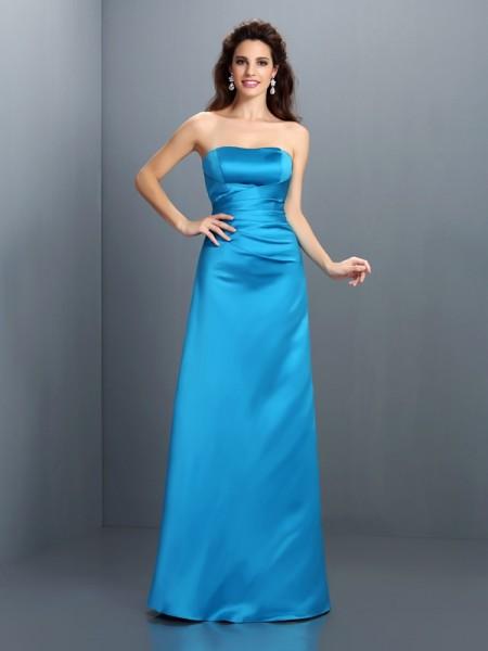 Corte en A/Princesa Sin Tirantes Sin Mangas Largo Satén Vestidos de dama de honor