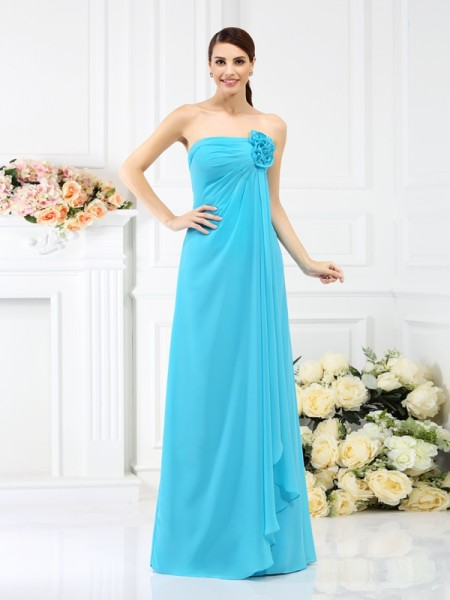 Corte en A/Princesa Sin Tirantes Flores hechas a mano Sin Mangas Largo Gasa Vestidos de dama de honor