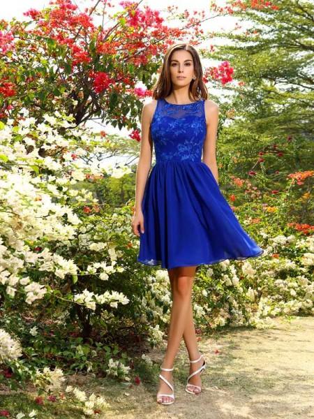 Corte en A/Princesa Escote Barco Apliques Sin Mangas Corto Gasa Vestidos de dama de honor