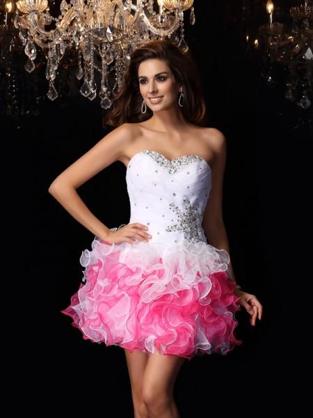 Corte en A/Princesa Escote de Corazón Volantes Sin Mangas Corto Organza Vestidos de cóctel