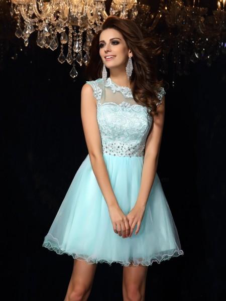 Corte en A/Princesa Escote Alto Sin Mangas Corto Satén Elástico Vestidos