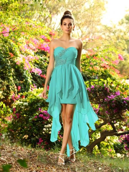 Corte en A/Princesa Escote de Corazón Abalorios Sin Mangas Asimétrico Gasa Vestidos de dama de honor