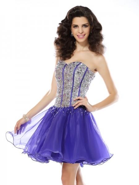 Corte en A/Princesa Escote de Corazón Abalorios Sin Mangas Corto Organza Vestidos de cóctel
