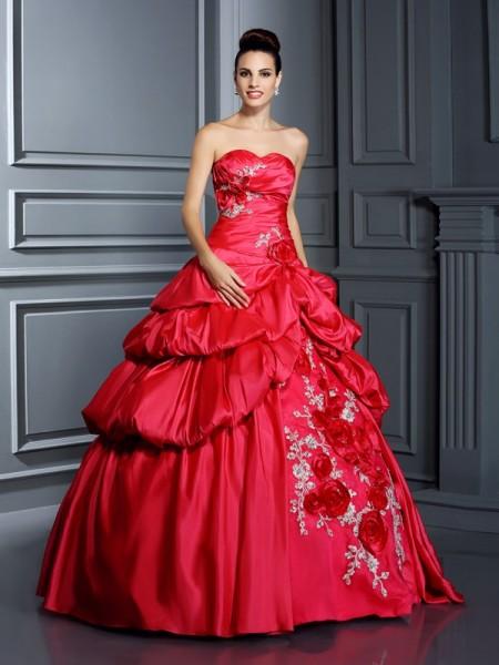 Evasé Escote de Corazón Flores hechas a mano Sin Mangas Largo Taffeta Vestidos de quinceañera