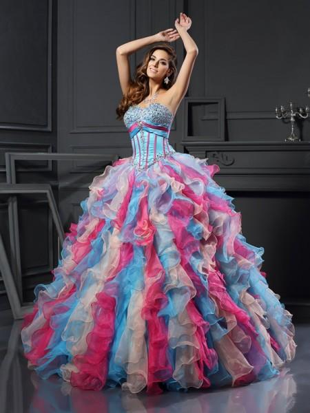 Evasé Escote de Corazón Abalorios Sin Mangas Largo Organza Vestidos de quinceañera