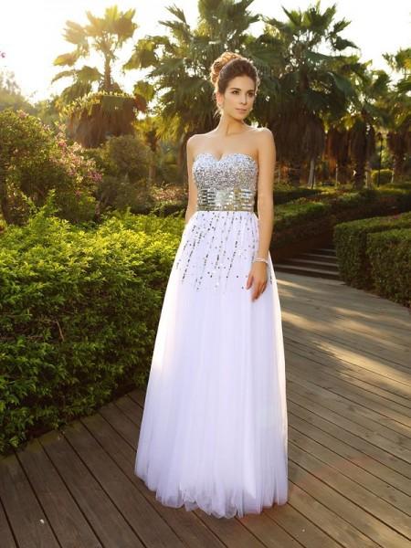 Corte en A/Princesa Escote de Corazón Abalorios Sin Mangas Largo Organza Vestidos
