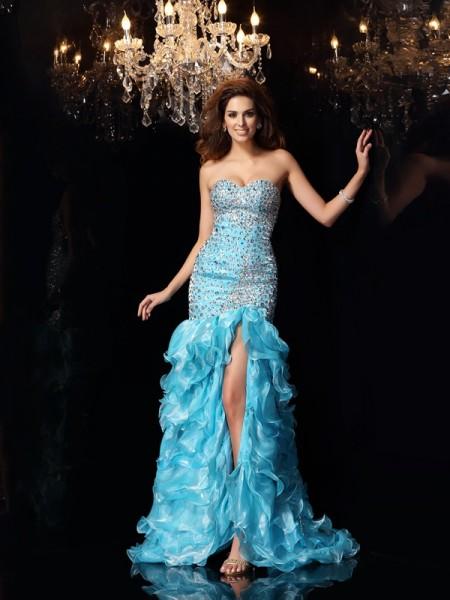 Trompeta/Sirena Escote de Corazón Abalorios Sin Mangas Asimétrico Organza Vestidos