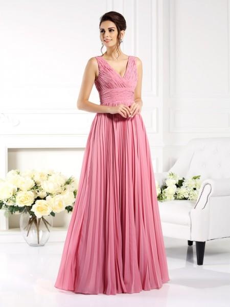 Corte en A/Princesa Escote de Corazón Plisado Sin Mangas Largo Gasa Vestidos para Madrinas
