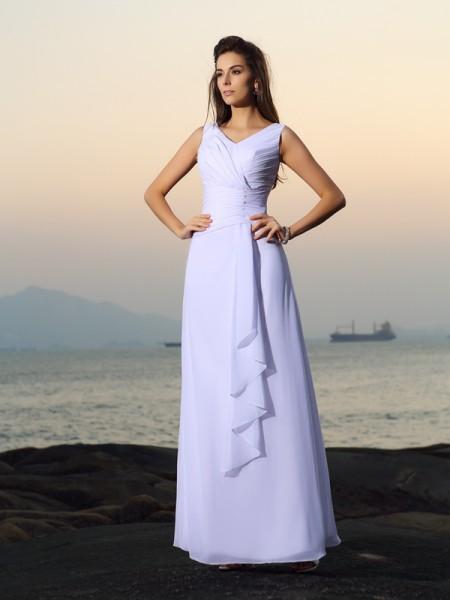 Corte en A/Princesa Escote en V Plisado Sin Mangas Largo Gasa Playa Vestidos de Novia