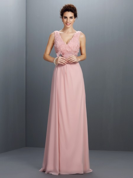 Corte en A/Princesa Escote en V Abalorios Sin Mangas Largo Gasa Vestidos