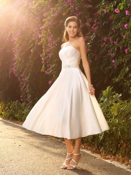 Corte en A/Princesa Escote de Corazón Abalorios Sin Mangas Corto Satén Vestidos de Novia