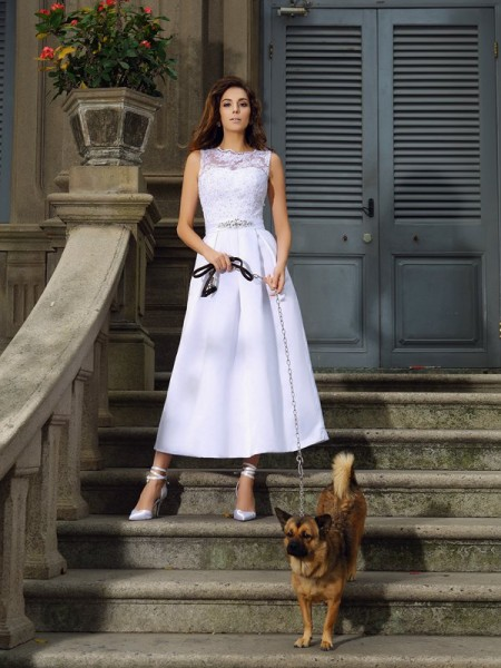 Corte en A/Princesa Escote Barco Apliques Sin Mangas Largo Satén Vestidos de Novia