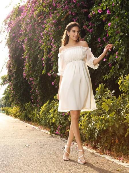 Corte en A/Princesa Hombros Caídos Abalorios Media Manga Corto Gasa Vestidos de Novia