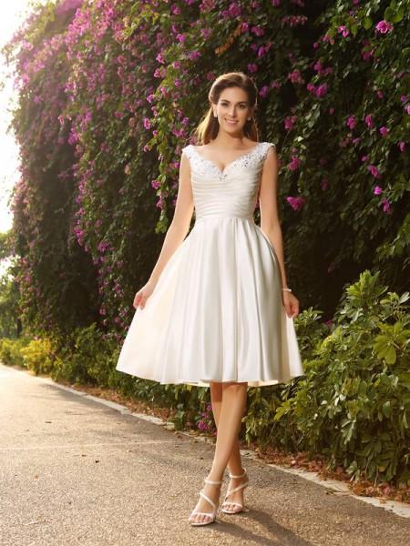 Corte en A/Princesa Escote en V Abalorios Sin Mangas Corto Satén Vestidos de Novia