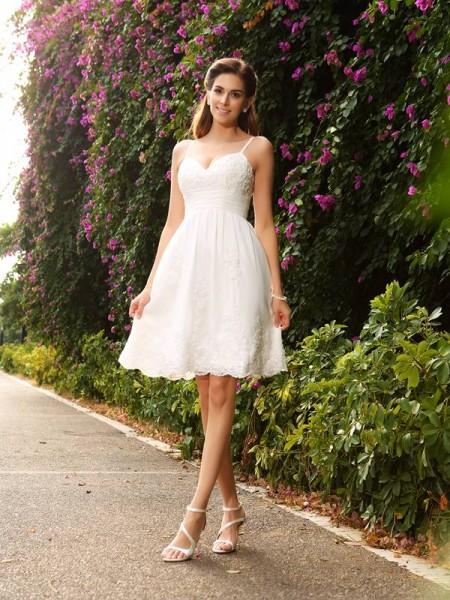 Corte en A/Princesa Tirantes Espagueti Apliques Sin Mangas Corto Encaje Vestidos de Novia