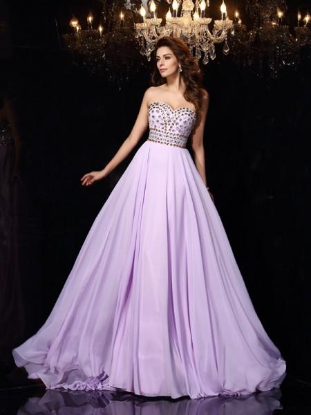 Corte en A/Princesa Escote de Corazón Abalorios Sin Mangas Largo Gasa Vestidos