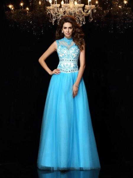 Corte en A/Princesa Escote Alto Apliques Sin Mangas Largo Satén Vestidos