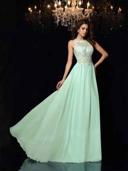 Corte en A/Princesa Escote Alto Apliques Sin Mangas Largo Gasa Vestidos