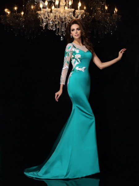 Trompeta/Sirena Escote en U Abalorios Sin Mangas Largo Satén Vestidos