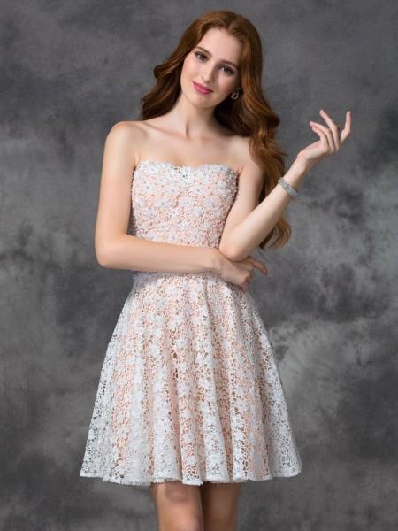 Corte en A/Princesa Escote de Corazón Encaje Sin Mangas Corto Encaje Vestidos de cóctel