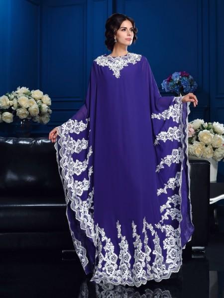 Corte en A/Princesa Escote en U Apliques Manga Larga Largo Gasa Vestidos para Madrinas