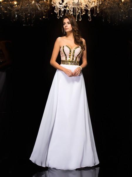 Corte en A/Princesa Escote de Corazón Lentejuelas Sin Mangas Largo Gasa Vestidos