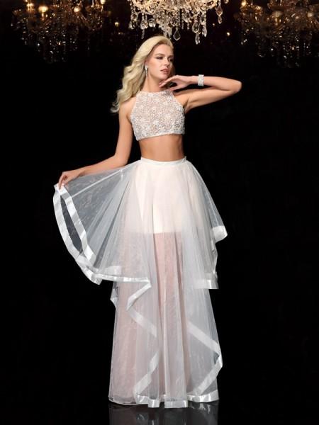 Corte en A/Princesa Escote en U Apliques Sin Mangas Largo Tul Dos Piezas Vestidos