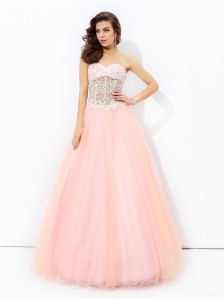 Corte en A/Princesa Escote de Corazón Encaje Sin Mangas Largo Malla Vestidos