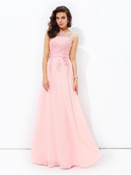 Corte en A/Princesa Escote en U Apliques Sin Mangas Largo Gasa Vestidos