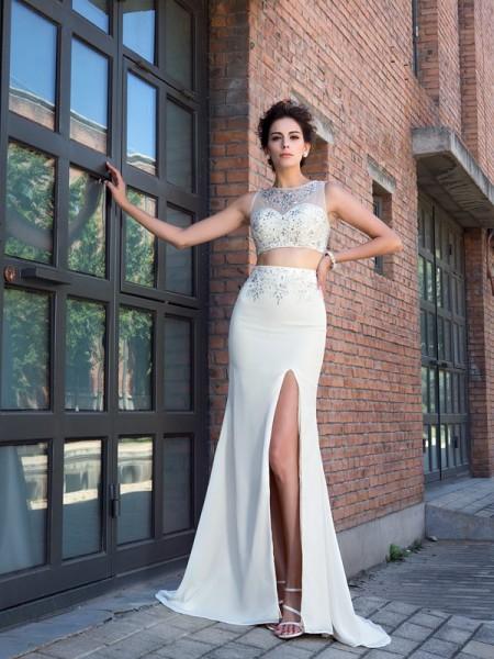 Ajustado/Tipo Columna Escote Alto Cristales Sin Mangas Largo Gasa Dos Piezas Vestidos