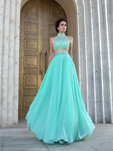 Corte en A/Princesa Escote Alto Abalorios Sin Mangas Largo Gasa Dos Piezas Vestidos
