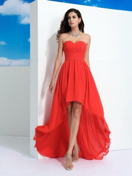 Corte en A/Princesa Escote de Corazón Plisado Sin Mangas Asimétrico Gasa Vestidos